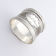 Engine Turned Scroll Napkin Ring Coin Silver 1880