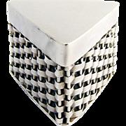 Basket Weave Triangular Pill Box Sterling Silver 1950