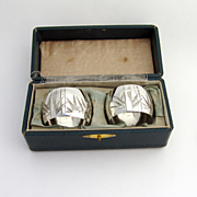Pair Of Japanese Bamboo Napkin Rings Sterling Silver 1920