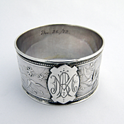Bird Pattern Napkin Ring Sterling Silver Wendt 1872