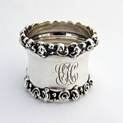 Applied Scroll High Relief Ornate Napkin Ring Sterling Silver 1904