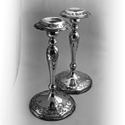 Pair Of Magnificent Floral Scroll Candle Sticks Sterling Silver Shreve 1890