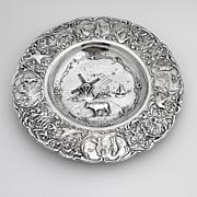 Ornate Happy Village People Serving Plate Dutch Second Standard Silver 1904