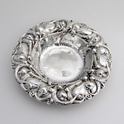 Ornate Art Nouveau Repousse Serving Bowl Sterling Silver Whiting 1900