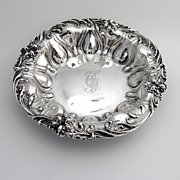 Ornate Floral Repousse Serving Bowl Sterling Silver Mayo Co 1900