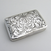 Ornate Floral Rectangular Box 800 Silver 1920 Italy