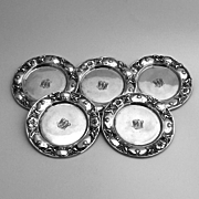 Floral Butter Pats Set of 5 Gorham 1900 Sterling Silver