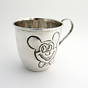 Micky Mouse Cup Baby 1960 Sterling Silver