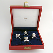 Salt And Pepper Shaker Set Sterling Silver Cartier 1980