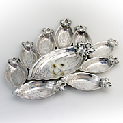 Iris Large Nut Serving Dish And Set Of 9 Iris Nut Cup Place Card Holder Sterling Silver Gorham Durgin 1900