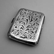 Vintage Cigarette Case Sterling Silver H Brothers 1929