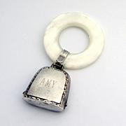 Baby Rattle Teething Ring Sterling Silver Plastic J T Inman 1950