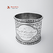 Floral Scroll Large Napkin Ring Coin Silver 1879