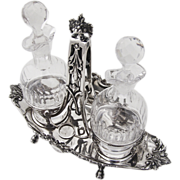 Ornate Floral Ribbon Cruet Set 950 Silver Cut Crystal Fray Fils 1880