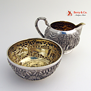 Antique Indian Colonial Tribal Village Repousse Creamer And Sugar Bowl Sterling Silver Grish Chunder Dutt 1890