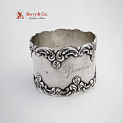 Ornate Applied Scroll Napkin Ring Sterling Silver Gorham 1890