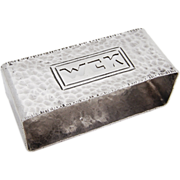 Hand Made Arts And Crafts Hammered Rectangular Napkin Ring Sterling Silver 1930