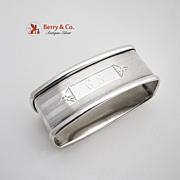 Rectangular Art Deco Engine Turned Napkin Ring Sterling Silver Webster 1930