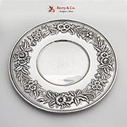 Repousse Floral Sandwich Plate Sterling Silver S Kirk Son 1940