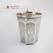 Engine Turned Octagonal Cup Coin Silver Tifft And Whiting 1845