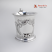 Ornate Floral Scroll Cup Coin Silver 1880