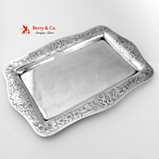 Floral Scroll Acid Etched Rectangular Dresser Tray Sterling Silver Shreve Co 1915