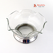 Small Pinched Rim Serving Bowl Sterling Silver Glass Wallace 1940