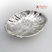 Ornate Floral Scroll Oval Footed Serving Bowl Continental  Silver 1860