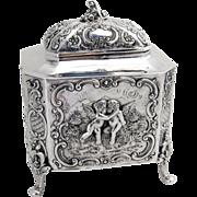 Ornate Cherub Footed Tea Caddy 800 Silver Germany 1890