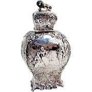 Ornate Gentry Tea Caddy 800 Silver German 1890