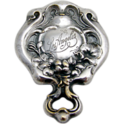 Art Nouveau Los Angeles Souvenir Small Pocket Or Hand Mirror Silver Plate 1905