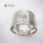 Engine Turned Napkin Ring Sterling SIlver Australia 1946