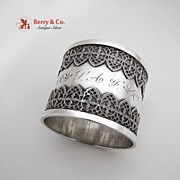 Ornate Filigree Napkin Ring Sterling Silver