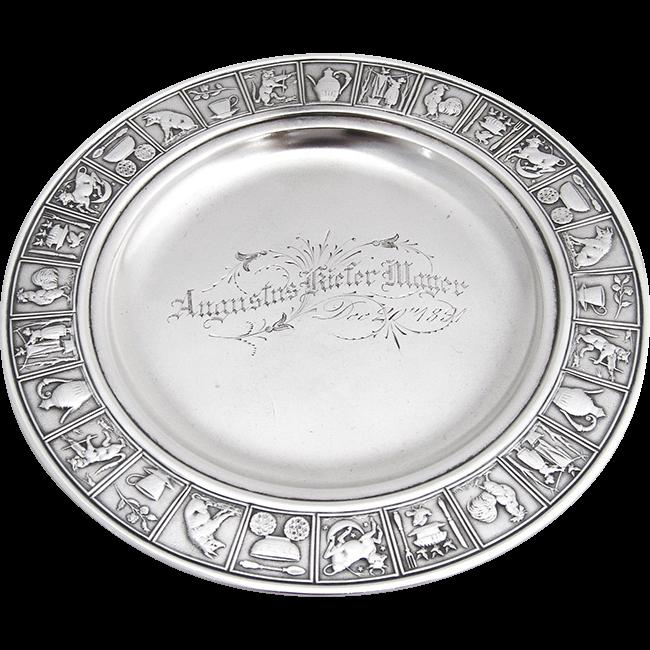 Vintage mexican silver nursery plate