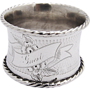 Antique Engine Turned Napkin Ring Coin Silver 1880