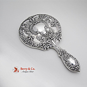 Ornate Baroque Style Hand Mirror Sterling Silver Gorham 1920