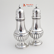 Ribbed Salt And Pepper Shaker Set Sterling Silver F B Rodgers 1883