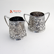 Repousse Creamer And Open Sugar Bowl Sterling Silver A G Schultz 1901
