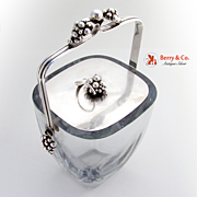 Danish Grape Bunch Ice Bucket Sterling Silver Crystal Dragsted 1950