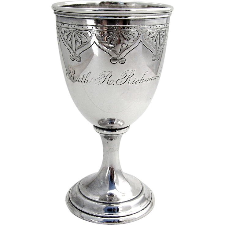 Engraved Goblet Coin Silver Gorham 1865 Berry Amp Company