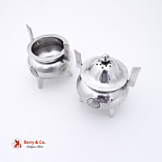 Japanese Figural Pot Salt Cellar And Pepper Shaker 950 Silver 1930