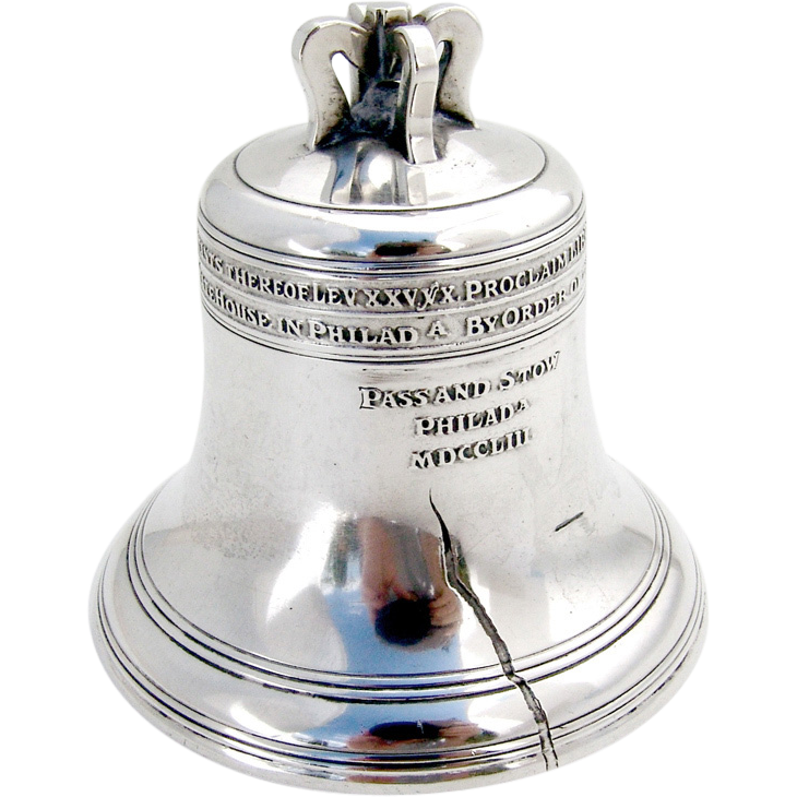 Liberty Bell Figural Coin Bank Sterling Silver William