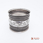 American Floral Leaf Napkin Ring Coin Silver c.1880