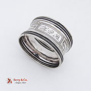 French Greek Key Napkin Ring Sterling Silver 1890