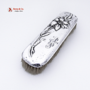 Iris Floral Clothes Brush Sterling Silver Unger Brothers 1900