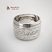 Dutch Scroll Napkin Ring Sterling Silver 1890