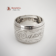 Dutch Scroll Napkin Ring Sterling Silver 1890