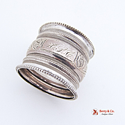 Aesthetic Beaded Napkin Ring Coin Silver 1880