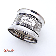 Floral Beaded Napkin Ring Coin Silver 1880