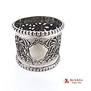 Ornate Openwork Jungle Landscape Napkin Ring 900 Silver 1930